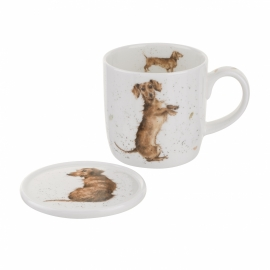 Wrendale Designs Hello Sausage Mug & Coaster Set