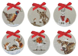 Wrendale Designs Christmas Decorations set van 6 -grey-