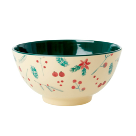 Rice Medium Melamine Bowl - Poinsettia Xmas Print *vernieuwd model*