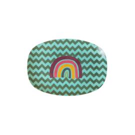 Rice Small Melamine Rectangular Plate - Zig Zag Rainbow Print