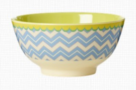 Rice Melamine Bowl Two Tone with Chevron Print