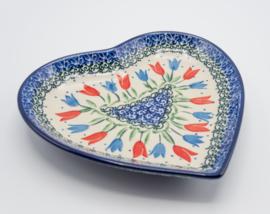 Bunzlau Heart Shape Dish Tulip Royal