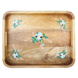 Rice Wooden Tray with Handpainted Flowers - Blue