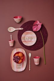 Rice Small Melamine Bowl - Happy Pink Print