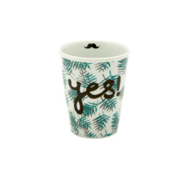 Rice Porcelain Cup with Palm Leaves and Yes Print - Moustache Detail Inside -
