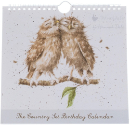 Wrendale Designs 'The Country Set' Birthday Calendar -Owls-