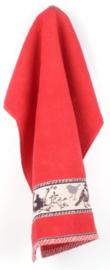 Bunzlau Kitchen Towel Birds Red