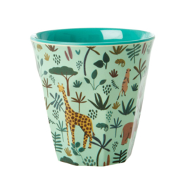 Rice Medium Melamine Cup with Green All Over Jungle Animals Print