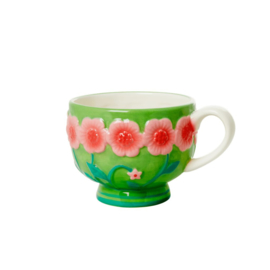 Rice Ceramic Mug with Embossed Sage Green Flower Design