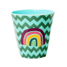 Rice Medium Melamine Cup - Zig Zag Print Rainbow