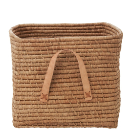 Rice Raffia Square Basket with Leather Handles - Tea
