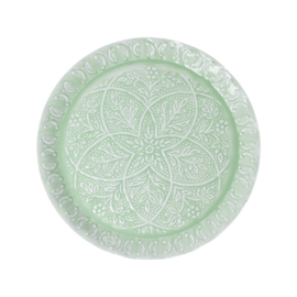 Rice Enamel Tray with Embossed Details - Sage Green