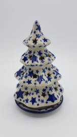 Bunzlau Christmas Tree for Tealight H 15 cm White Stars