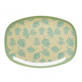 Rice Rectangular Melamine Plate with Palm Leave Print