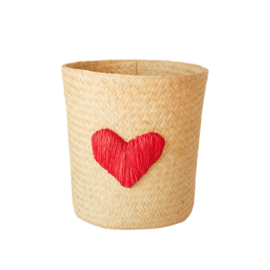 Rice Raffia Basket with Heart Embroidy