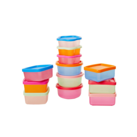 Rice Assorted Small Plastic Food Boxes in Net - 12 pieces