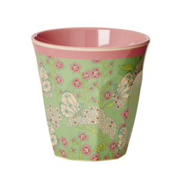Rice Melamine Medium Cup Two Tone with Butterfly & Flower Print