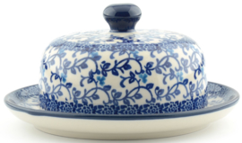 Bunzlau Butter Dish with Plate Round Ø 15 cm Tender Twigs