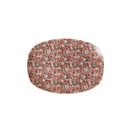 Rice Small Melamine Rectangular Plate - Fall Floral Print