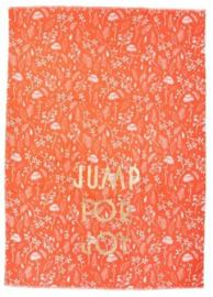Rice Tea Towel - Orange Fall Print - Neon Piping