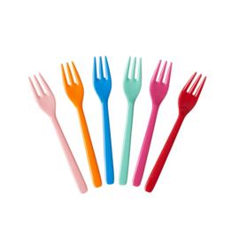 Rice Melamine Cake Forks - Assorted 'Choose Happy' Colors - Bundle of 6