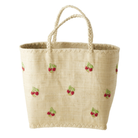 Rice Raffia Bag in Natural with Red Flowers Embroidy - Large