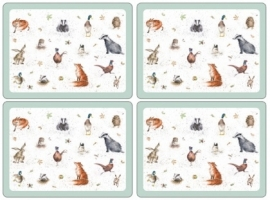 Wrendale Designs Set of 4 Large Woodland Placemats