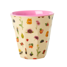 Rice Medium Melamine Cup with Lipstick Fall Print