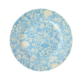 Rice Melamine Side Plate with Blue Fern and Flower Print -bord met rand-