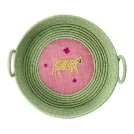 Rice Raffia Bread Basket with Leopard Embroidery - Soft Green
