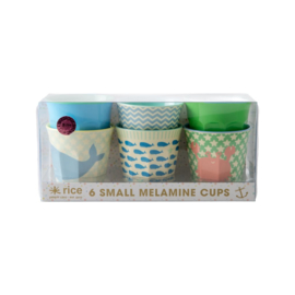 Rice Melamine Cups with Kids Ocean Life Print - Blue and Green - Small  - 6 pcs.
