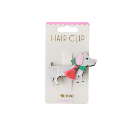 Rice Hair Clip with Silver Dog