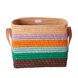 Rice Raffia Square Basket with Leather Handles - 'Follow the Call of the Disco Ball' Stripes