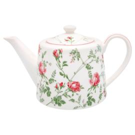 GreenGate Teapot Constance white -stoneware-