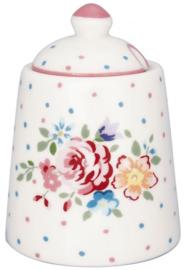 GreenGate Sugar Pot Belle white -stoneware-
