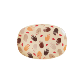 Rice Small Melamine Rectangular Plate - Hands and Kisses Print