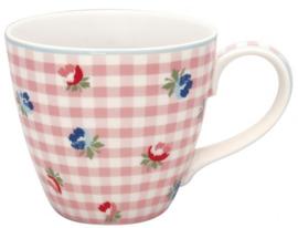 GreenGate Mug Viola check pale pink -stoneware-