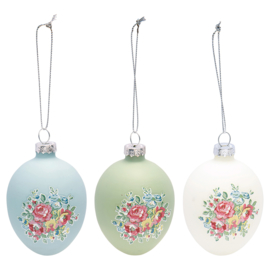 GreenGate Glass Egg Franka pale blue for hanging