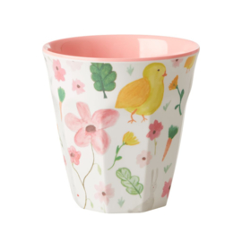 Rice Medium Melamine Cup with White Easter Print