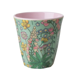 Rice Melamine Cup with Lupin Print - Two Tone - Medium