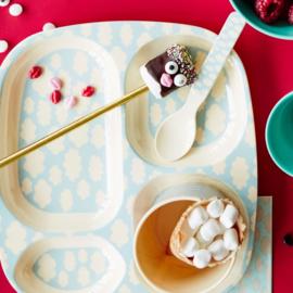 Rice Melamine Kids 4 Room Plate with Cloud Print - Blue