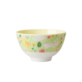 Rice Small Melamine Bowl - Green Easter Print
