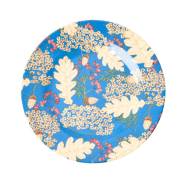 Rice Melamine Side Plate with Autumn and Acorns Print -bord met rand-