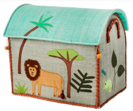 Rice Raffia Toy Baskets Blue Jungle - small