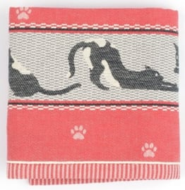 Bunzlau Tea Towel Cats Red