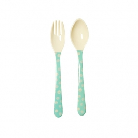 Rice Kids Melamine Spoon and Fork with Boys Happy Camper Print