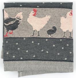 Bunzlau Tea Towel Chickens Black