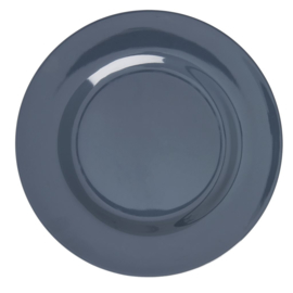 Rice Melamine Round Dinner Plate in Dark Grey