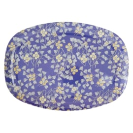 Rice Rectangular Melamine Plate - Hanging Flower Print