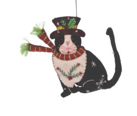 Meander Kat met hoed -vilt-
